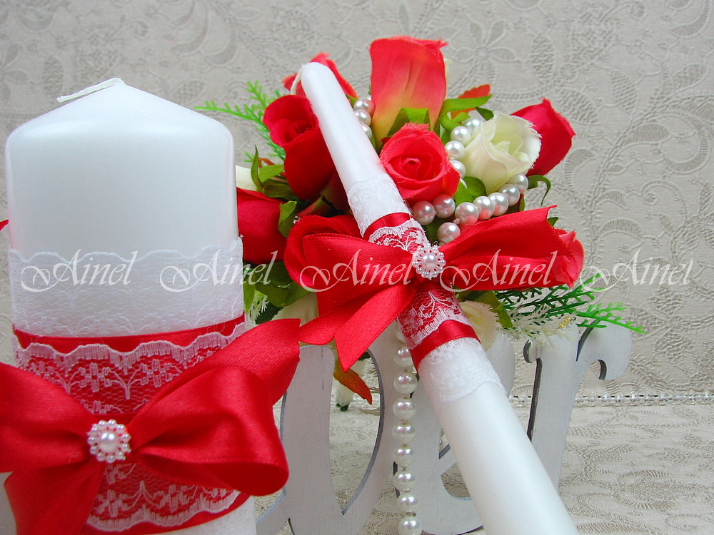 """Свадебные свечи домашний очаг """"Маркиза"""" красная ручной работы"""
