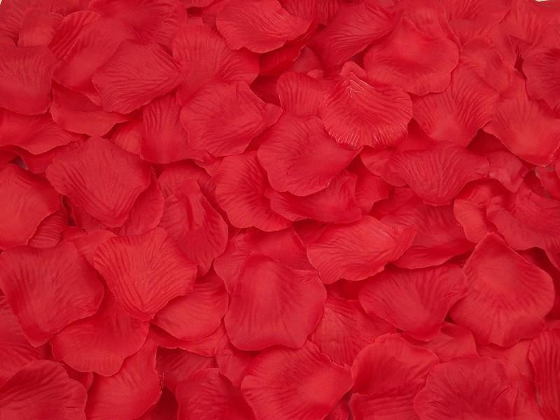 Искусственные лепестки роз из ткани Красные 300 шт