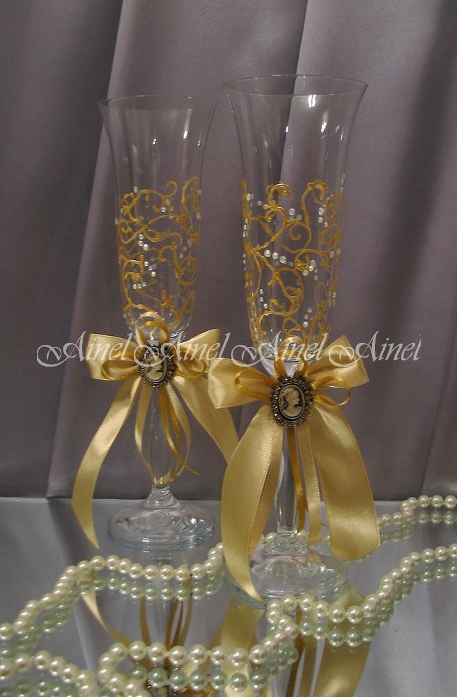 """Бокалы свадебные для молодоженов """"Камея золото"""""""