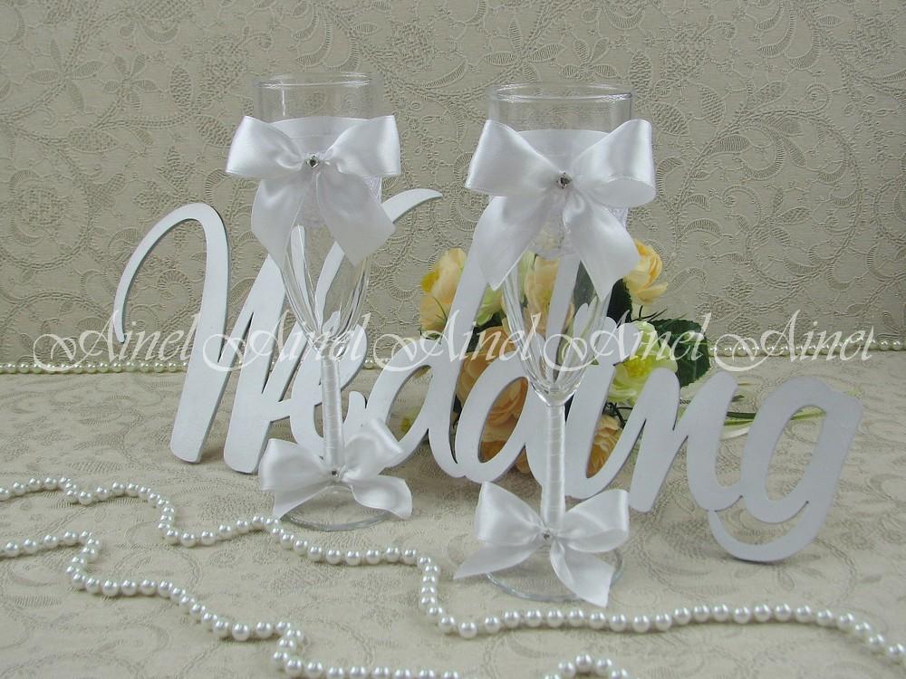"""Бокалы свадебные для молодоженов """"Бантики белые"""""""