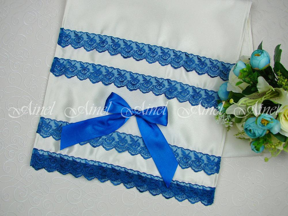 "Рушник ""Амели"" с синим кружевом и бантом"