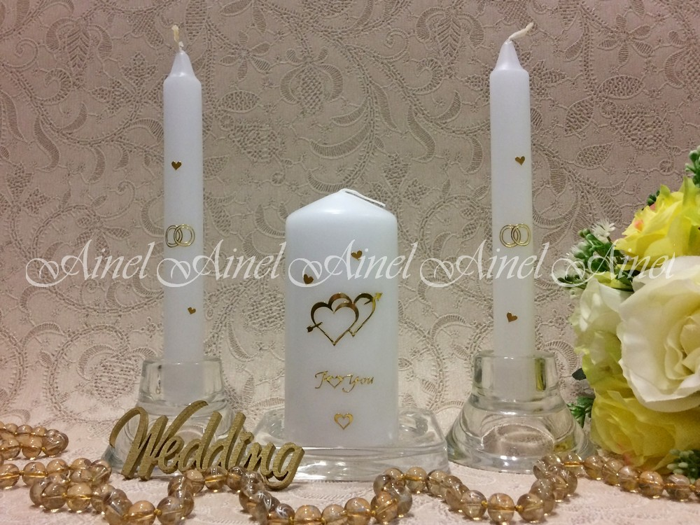 """Свечи свадебные """"Эконом"""" белые комплект Сердца"""