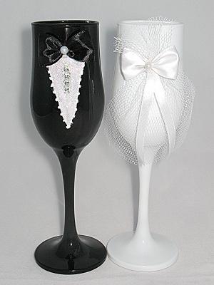 Бокалы свадебные с росписью №54 жених и невеста
