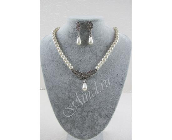 Свадебное украшение для невесты бижутерия №74 с жемчугом под серебро