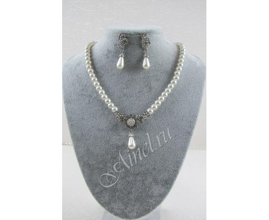 Свадебное украшение для невесты бижутерия №75 с жемчугом под серебро