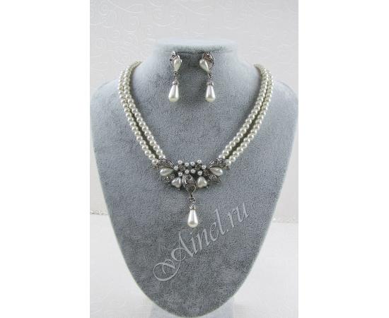 Свадебное украшение для невесты бижутерия №78 с жемчугом под серебро
