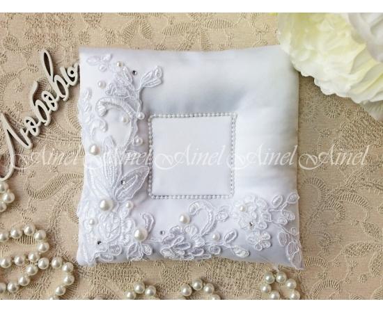 Свадебная подушечка для обручальных колец «Неаполь» белый