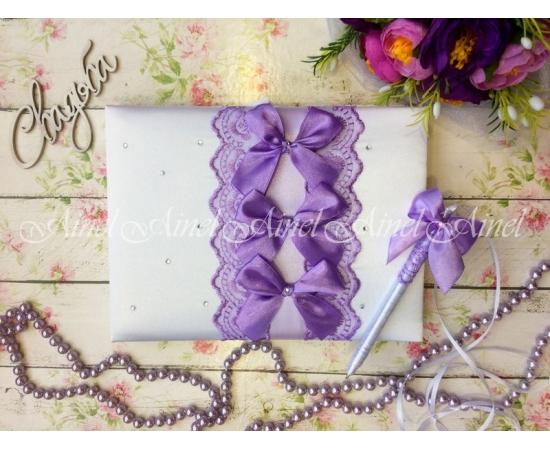 Книга пожеланий на свадьбу «Сиреневые бантики»