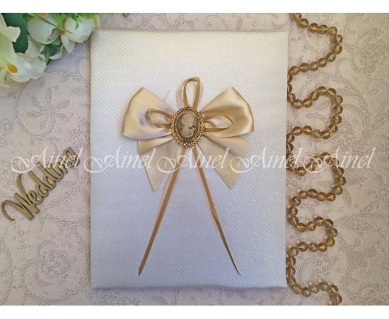 Свадебная папка для свидетельства о браке «Камея золото»