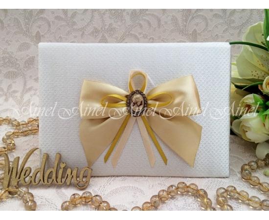 Свадебная папка для свидетельства о браке «Камея золото»-2