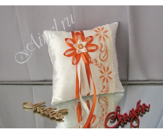 Свадебная подушечка для обручальных колец «Апельсиновый пломбир»