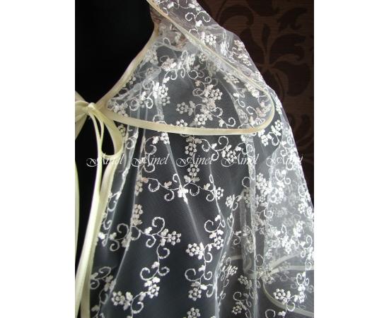 Венчальная накидка №1 Цветочки айвори