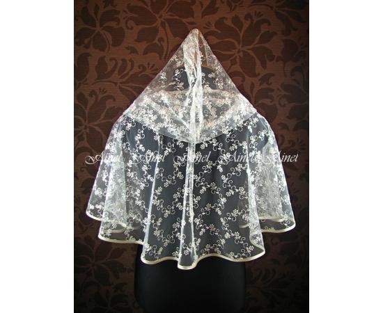 Венчальный платок №1 Цветочки айвори