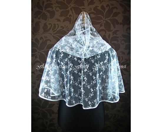Венчальный платок №1 Цветочки белый