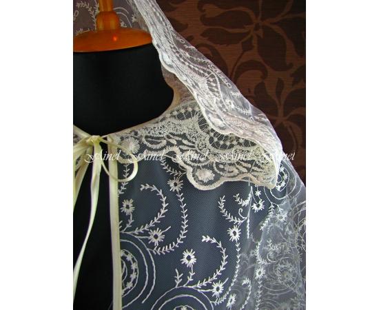Венчальная накидка №5 Завитки айвори кружевной капюшон