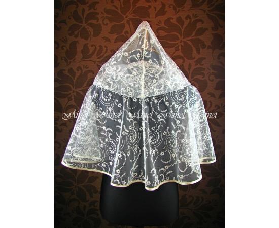 Венчальный платок №5 Завитки айвори кружевной капюшон