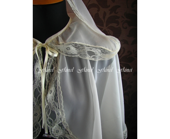 Венчальная накидка №6 Шифон с кружевом айвори