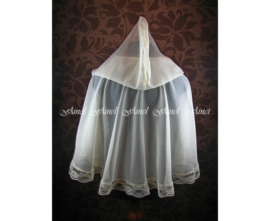 Венчальный платок №6 Шифон с кружевом айвори