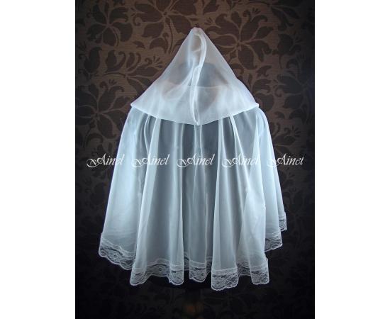 Венчальный платок №6 Шифон с кружевом белый