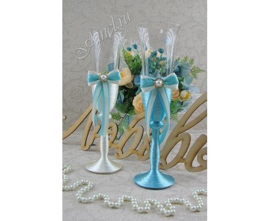 Бокалы свадебные для молодоженов «Флоренция» №9 айвори и голубой