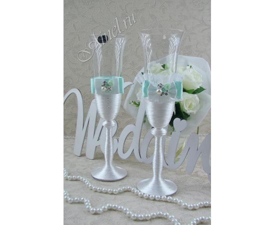 Бокалы свадебные для молодоженов «Флоренция» №11 белый с мятным