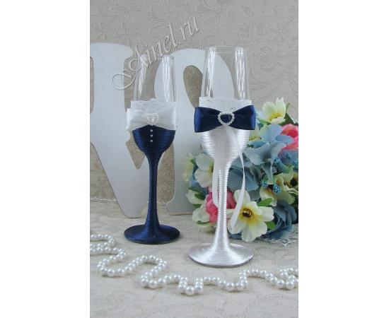 Бокалы свадебные для молодоженов «Версаль» №3 белый и темно-синий