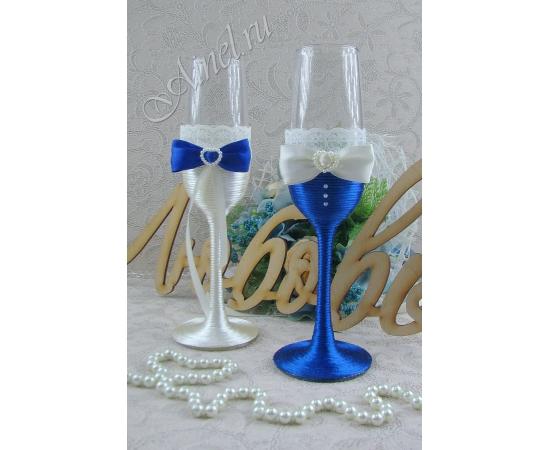 Бокалы свадебные для молодоженов «Версаль» №4 айвори и синий