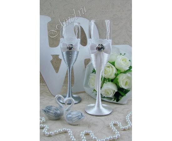 Бокалы свадебные для молодоженов «Милан» №22 белый и серый
