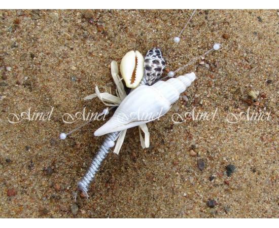 Бутоньерка свадебная для жениха и свидетеля №12 морская на серебряной ножке