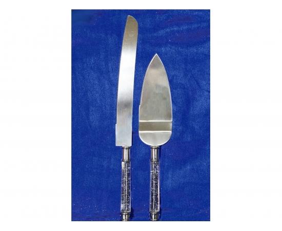 """Приборы для свадебного торта нож и лопатка """"Свадебные"""" прозрачные ручки блеск"""