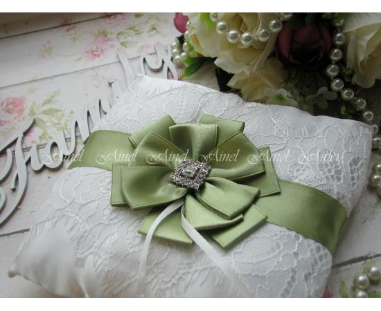 Подушечка для колец на свадьбу «Марго» зеленая