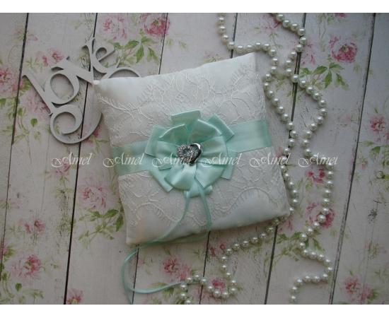 Свадебная подушечка для обручальных колец «Марго» мятная