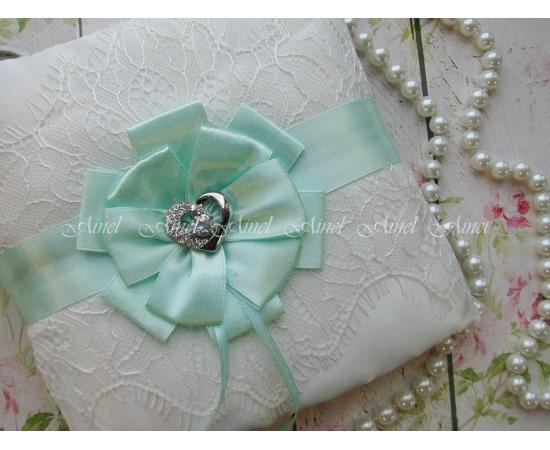 Подушечка для колец на свадьбу «Марго» мятная