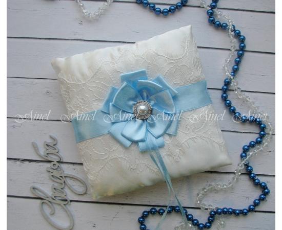 Свадебная подушечка для обручальных колец «Марго» голубая