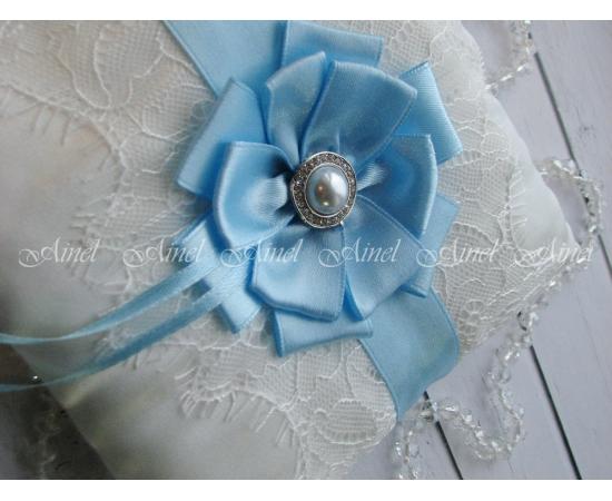 Подушечка для колец на свадьбу «Марго» голубая