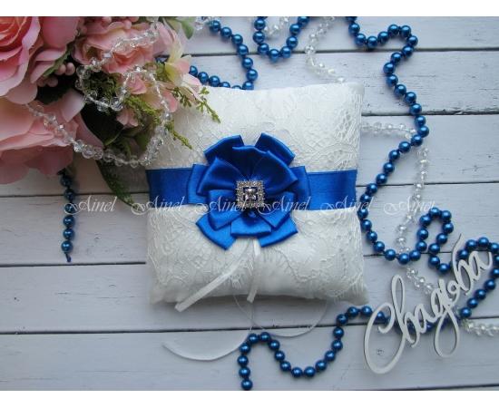 Свадебная подушечка для обручальных колец «Марго» васильковая
