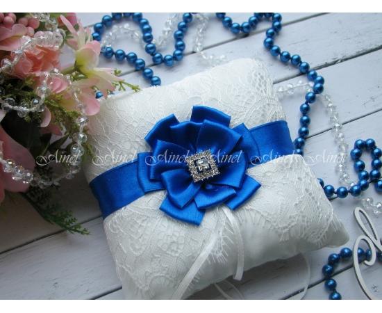 Подушечка для колец на свадьбу «Марго» васильковая
