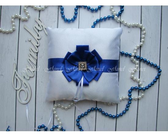 Свадебная подушечка для обручальных колец «Луиза» синяя