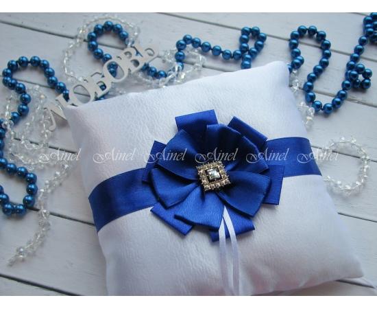 Подушечка для колец на свадьбу «Луиза» синяя
