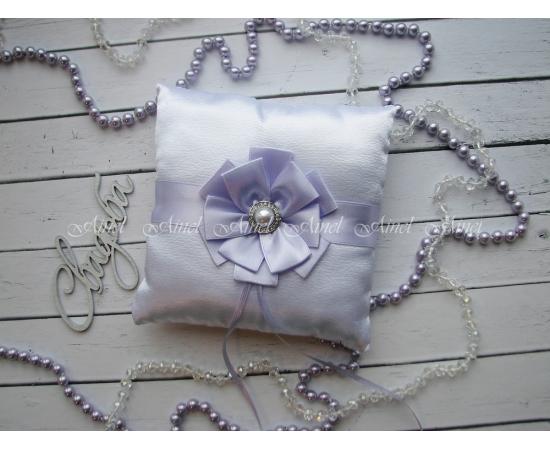 Свадебная подушечка для обручальных колец «Луиза» светло-сиреневая