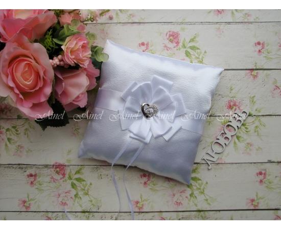 Свадебная подушечка для обручальных колец «Луиза» белая