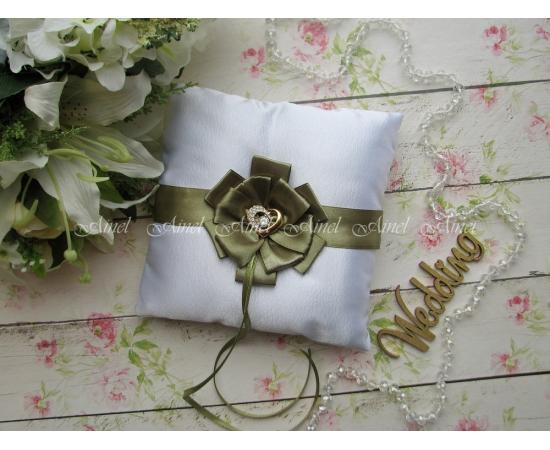 Свадебная подушечка для обручальных колец «Луиза» зеленая
