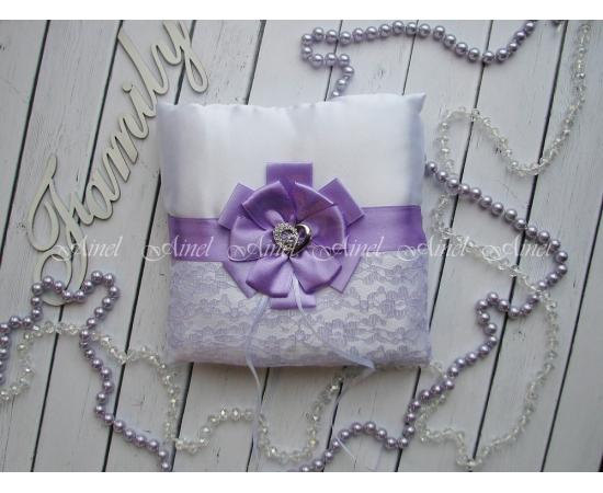 Свадебная подушечка для обручальных колец «Марго» сиреневая