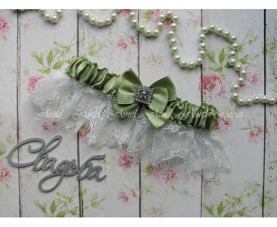 """Подвязка невесты свадебная """"Марго"""" зеленая"""