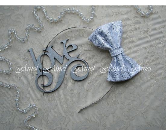 Бабочка на обруче для семейной фотосессии Family Look  №13 бабочки серебро парча