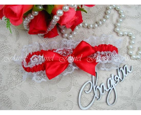 """Подвязка невесты свадебная """"Амели"""" золотая """"Маркиза"""" красная"""