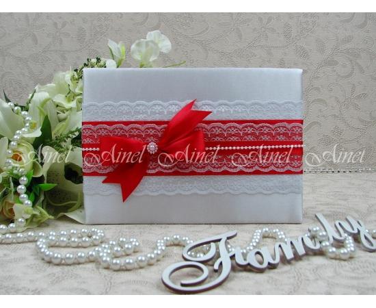 Свадебная папка для свидетельства о браке «Маркиза» красная