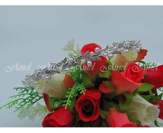 Диадема на свадьбу  №3974 под серебро с жемчугом