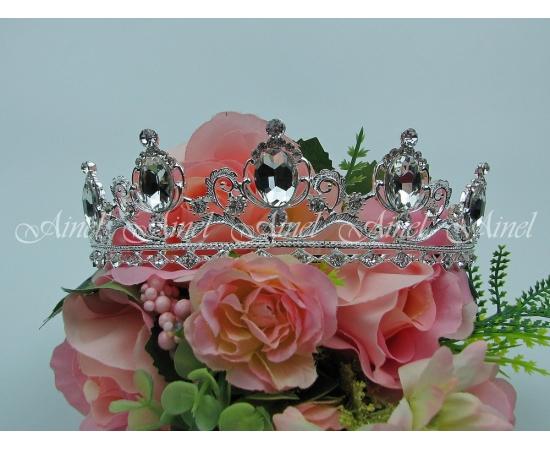 Диадема на свадьбу  №3981 под серебро со стразами