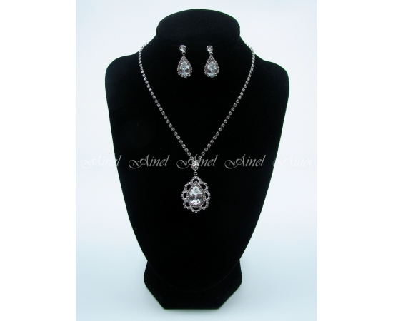 Свадебное украшение для невесты бижутерия №3990 со стразами под серебро